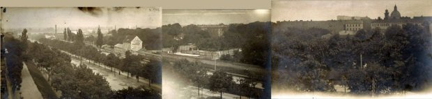 Panorama połączona z trzech zdjęć panorama Alej Jerozolimskich w 1904 roku.