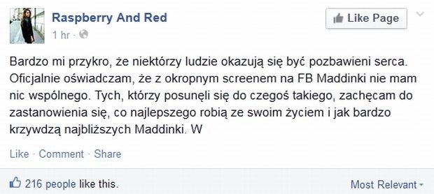 Reakcja blogerki Raspberry And Red na fałszywkę z jej komentarzem o Maddice