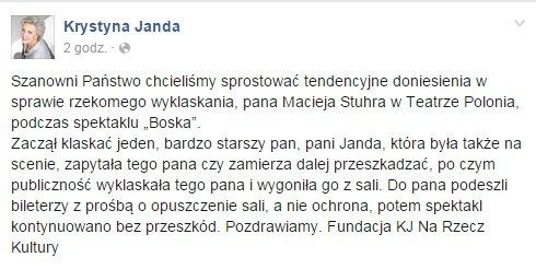 Screen sprostowania Fundacja Krystyny Jandy Na Rzecz Kultury.