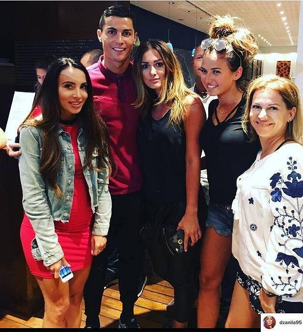 Cristiano Ronaldo wraz z Anną Peszko, Jessicą Ziółek i Anną Lewandowską
