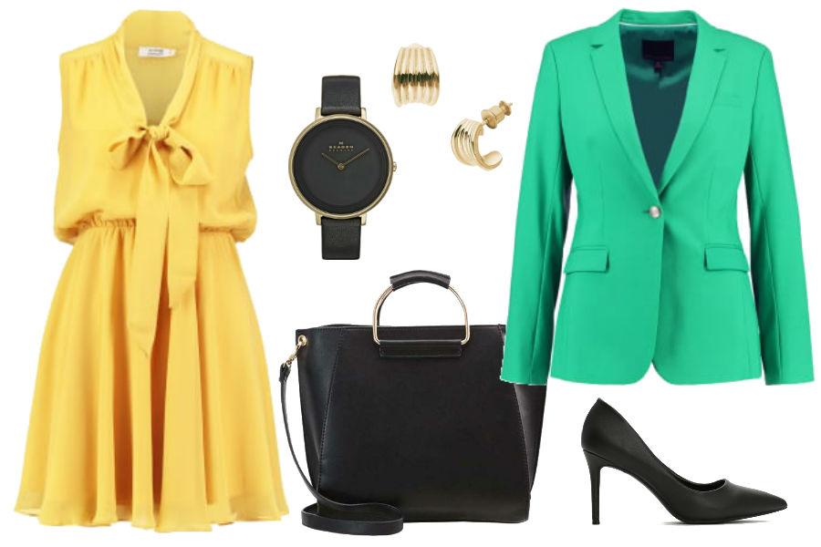 Kolaż Avani24 / Żółta sukienka i zielony żakiet we wiosennej stylizacji / Materiały partnera