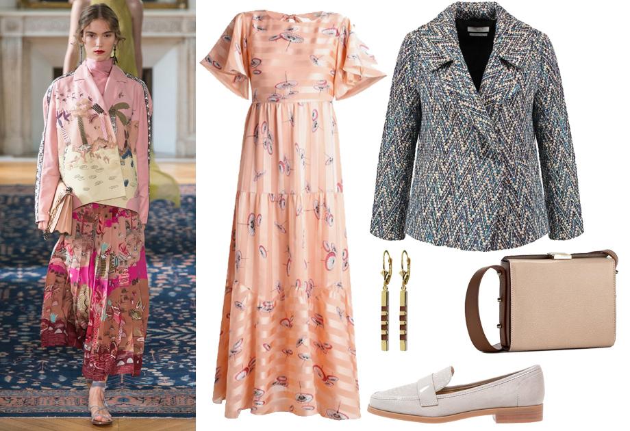 Sukienka w stylu boho i pudełkowa kurtka dla masywnej sylwetki