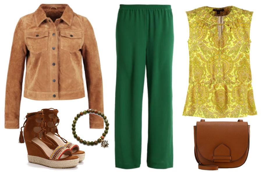 Kolaż Avanti24 / Zielone spodnie i żółta bluzka we wiosennej stylizacji / Materiały partnera