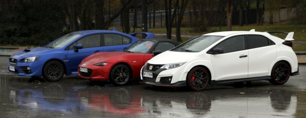 Honda Civic Type R vs. Subaru WRX STI vs. Mazda MX-5