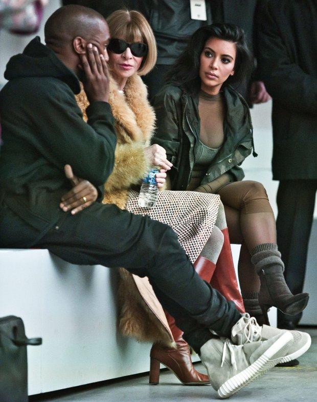 Kanye West, Anna Wintour i Kim Kardashian