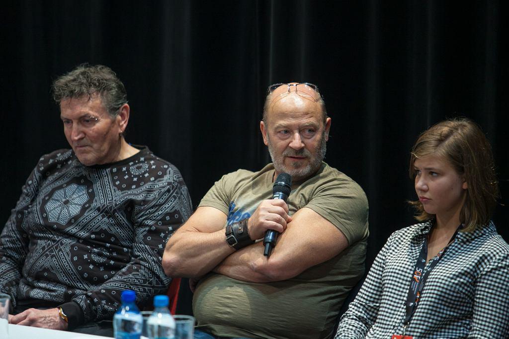 Konferencja prasowa twórców filmu 'Las, 4 rano', od lewej siedzą: Krzysztof Majchrzak, Jan Jakub Kolski  i Maria Blandzi (fot. Renata Dąbrowska / Agencja Gazeta)