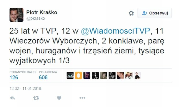 Tweet Piotra Kraśko