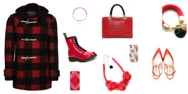 Czerwone ubrania i dodatki