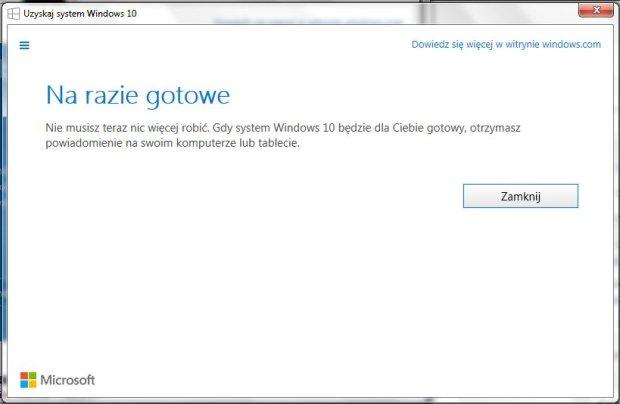 Informacja o aktualizacji do Windows 10
