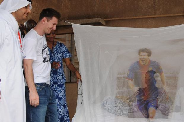 Argentina and Barcelona star Lionel Messi unveils a new anti-mosquito bed net that will save thousands of lives in Africa.