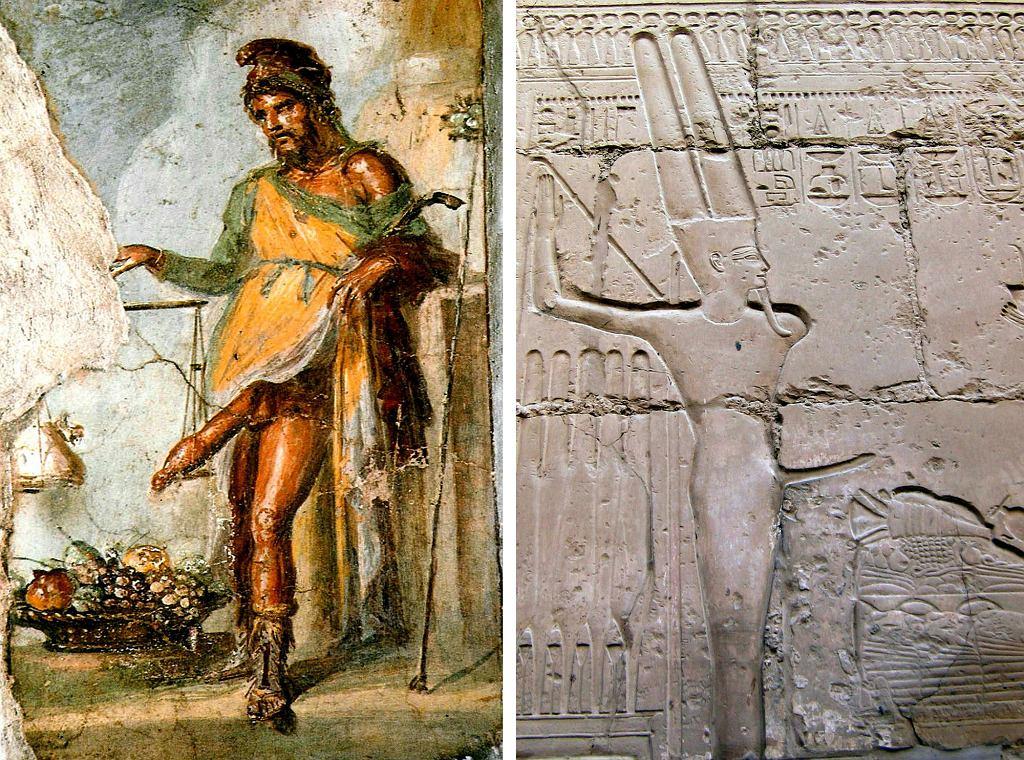 Po lewej fresk przedstawiający greckiego i rzymskiego boga płodności - Priapa. Po prawej: egipski bóg płodności Min w postaci ityfallicznej  (fot. Wikimedia.org / Domena publiczna / Wikimedia. org / CC BY-SA 3.0)