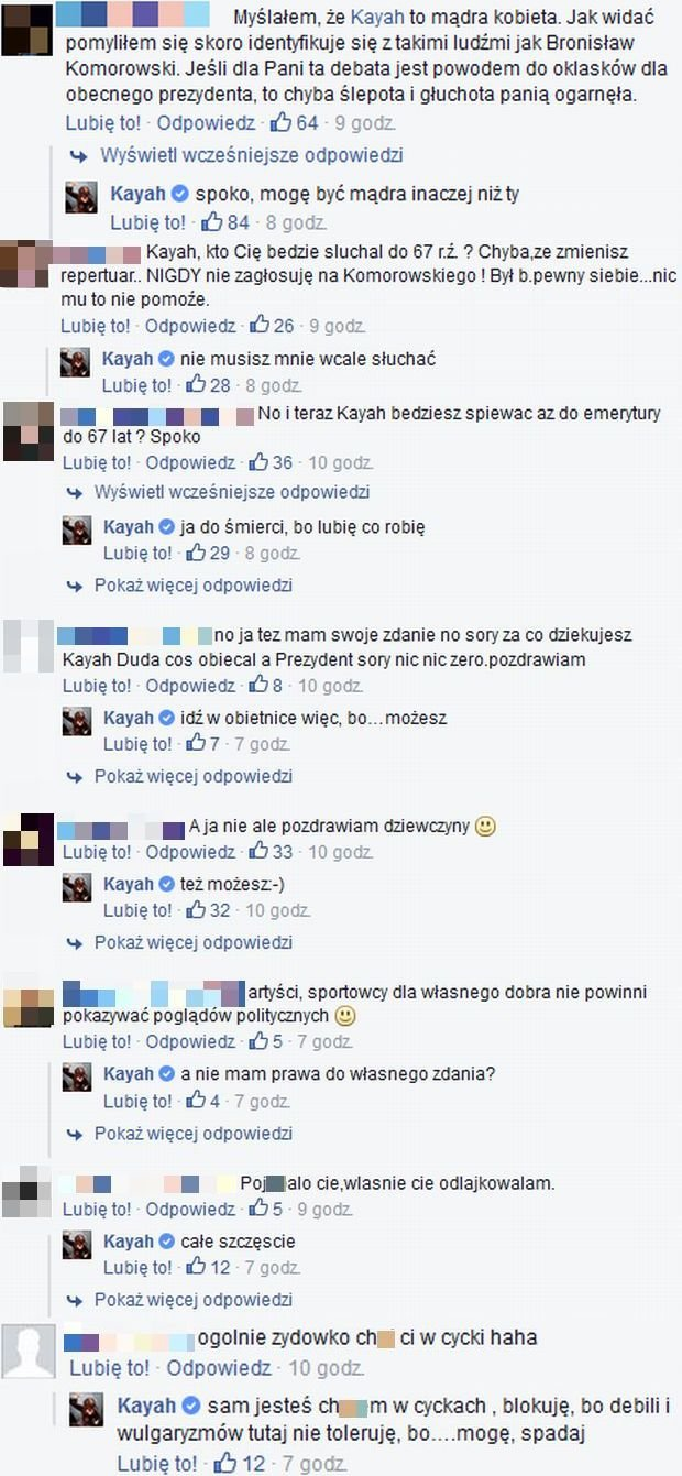 Komentarze pod wpisem Kayah.