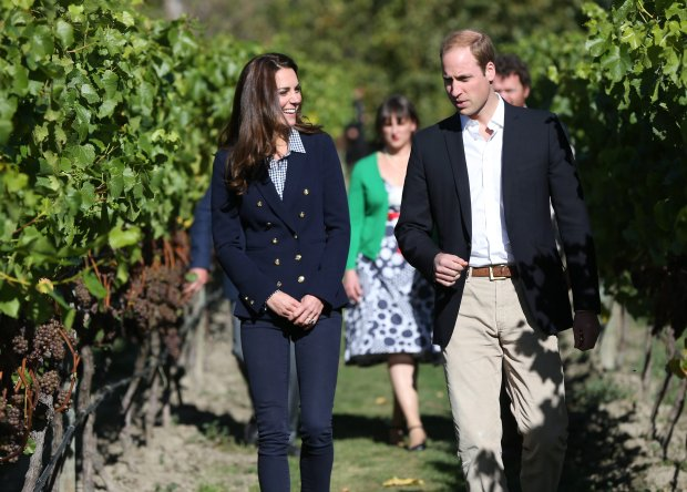 Britain's Prince William and his wife Kate, Duchess of Cambridge, visit Amsfield Winery in Queenstown, New Zealand, Sunday, April 13, 2014. The royal couple are on an official visit to New Zealand. (AP Photo/Fiona Goodall, Pool)