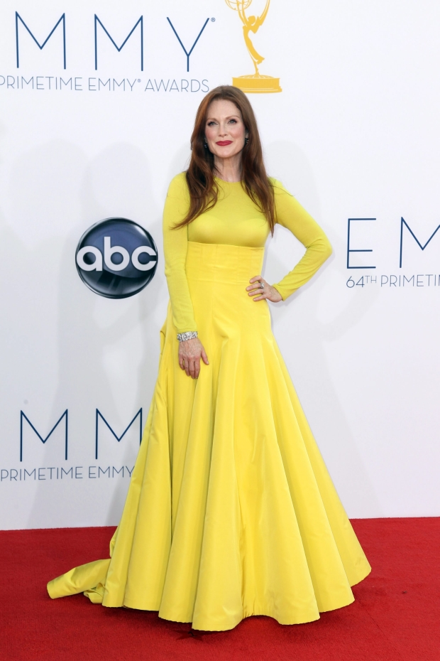Julianne Moore arrives at the 64th Primetime Emmy Awards at the Nokia Theatre on Sunday, Sept. 23, 2012, in Los Angeles. Moore is nominated for best actress in a miniseries or movie for her role as Sarah Palin in