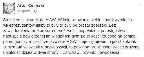 Komentarz Artura Celińskiego
