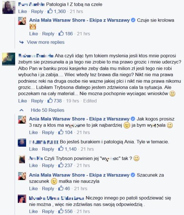 Komentarze na FB Małej Ani z Warsaw Shore