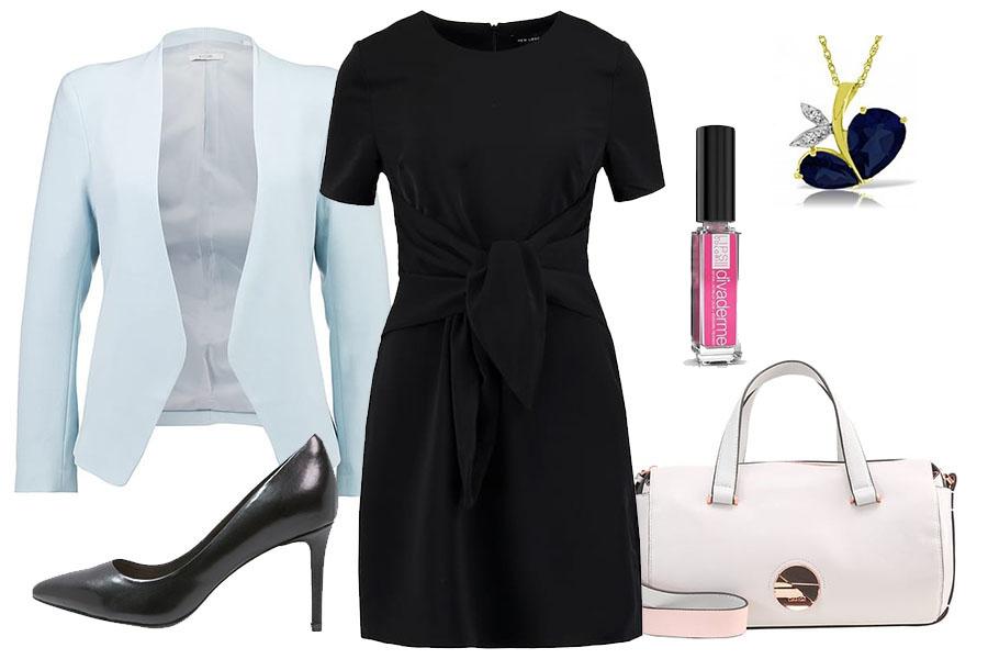 Czarna sukienka podkreślająca talię, ok. 65 zł