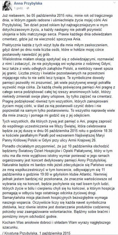 Wpis Krystyny Przybylskiej
