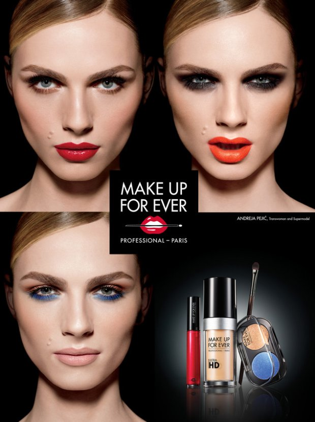 Andreja Pejic w kampanii Make Up Forver