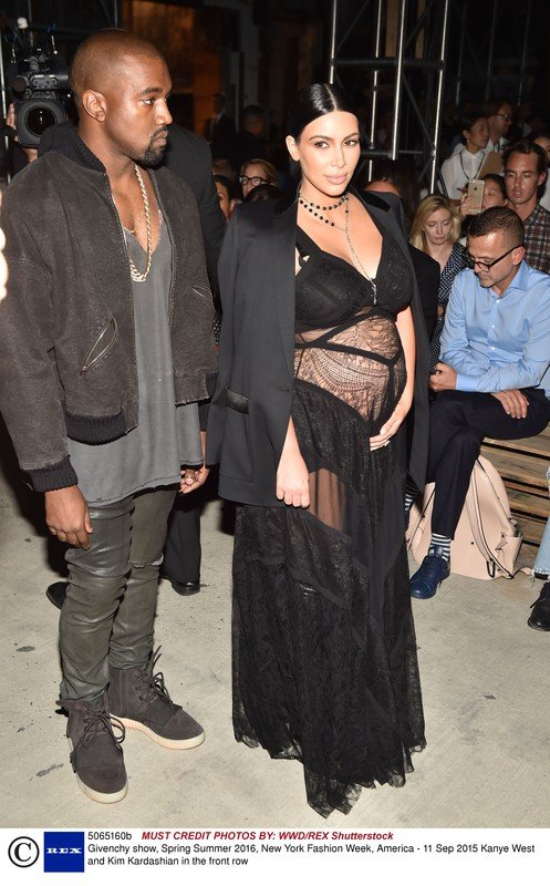 Kanye West and Kim Kardashian in the front row  Givenchy show