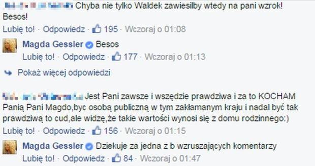 screen z facebooka Magdy Gessler