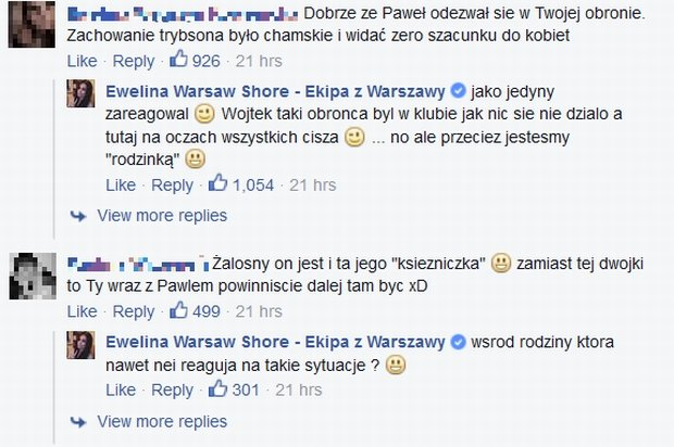 Komentarze na FB Eweliny z Warsaw Shore