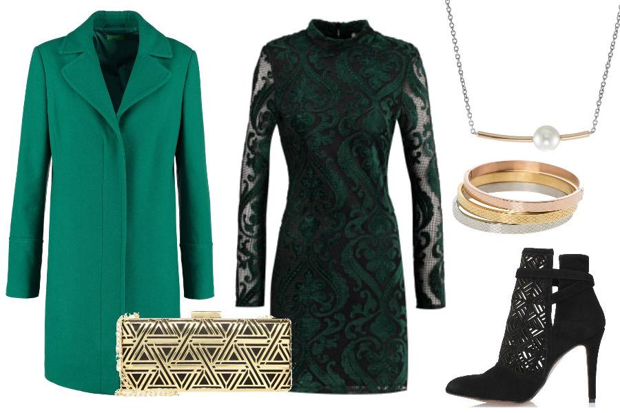 fot. materiały partnerów, zielona sukienka, długi płaszcz, czarne botki