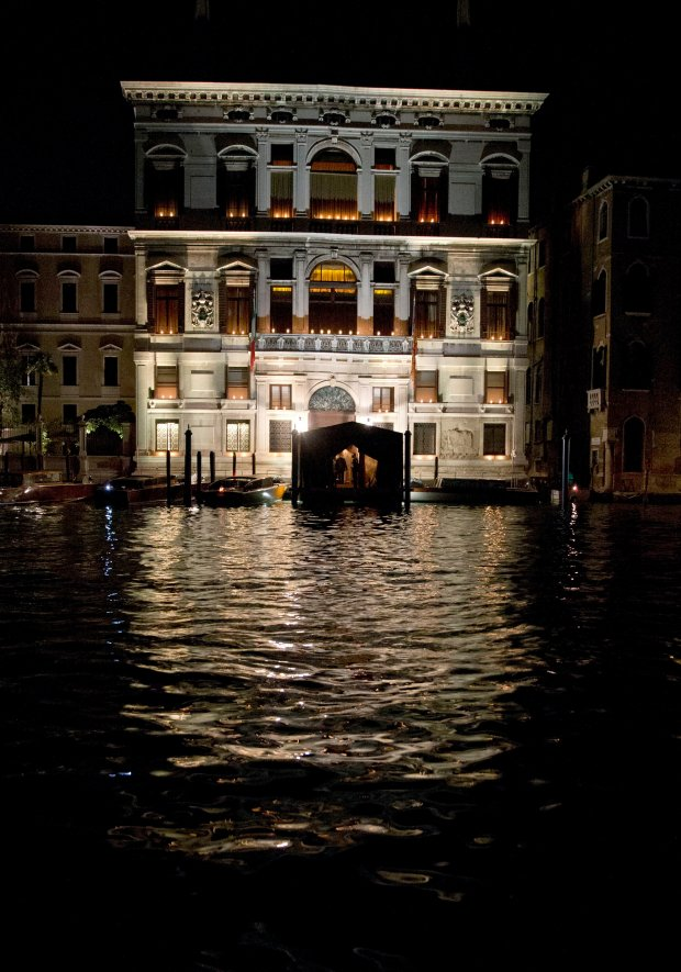 An external view of the Aman hotel in Venice where George Clooney married human rights lawyer Amal Alamuddin, in Venice, Italy, Saturday, Sept. 27, 2014. (AP Photo/Andrew Medichini)