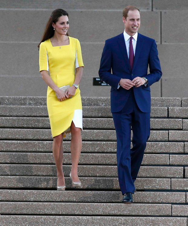 Britain's Prince William and his wife Catherine, Duchess of Cambridge, smile as they leave the Sydney Opera House in Sydney, April 16, 2014. Britain's Prince William and his wife Kate are undertaking a 19-day official visit to New Zealand and Australia with their son George.  REUTERS/Phil Noble (AUSTRALIA - Tags: ROYALS ENTERTAINMENT SOCIETY)