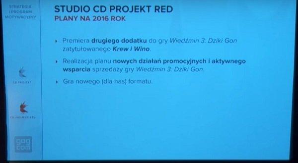 Fragment z prezentacji na temat planów CD Projektu na kolejne lata - w tym przypadku rok 2016 [źr. YouTube.com]