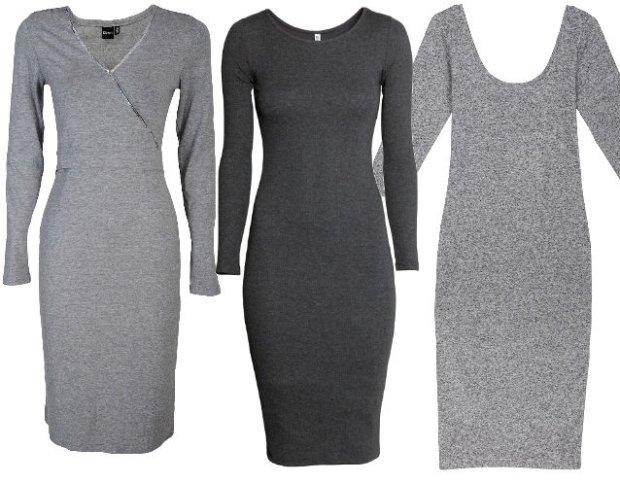 Inne rodzaje Zimowe kolekcje: szare sukienki z długim rękawem ZE03