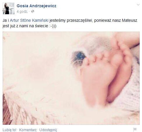 Gosia Andrzejewicz pokazała syna na Facebooku