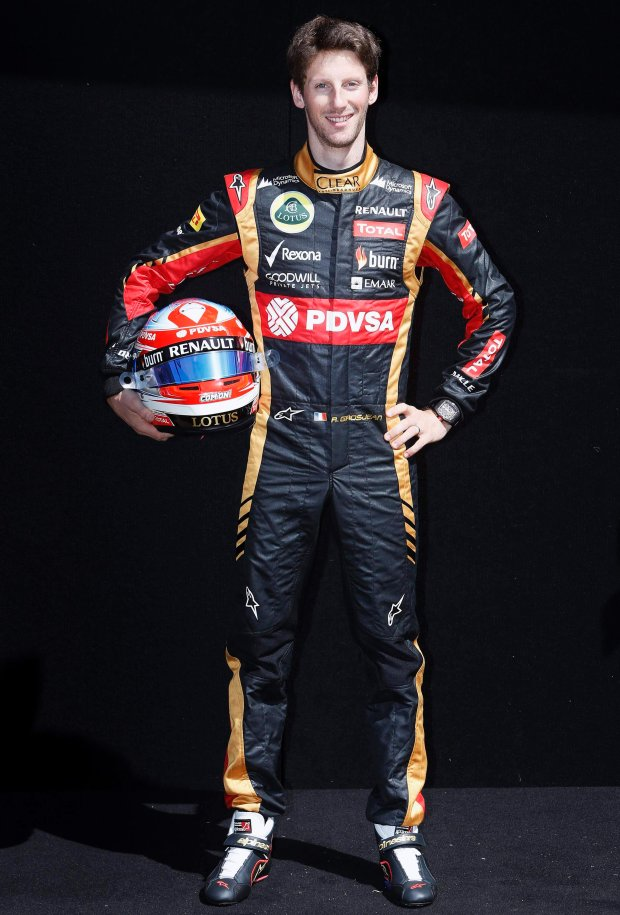 Lotus formula one driver Romain Grosjean of France poses during a photo session before the Australia Formula One Grand Prix, at Melbourne's Albert Park Track, March 13, 2014. The Australian F1 Grand Prix will be held on March 16.   REUTERS/Brandon Malone   (AUSTRALIA - Tags: SPORT MOTORSPORT F1 PROFILE)
