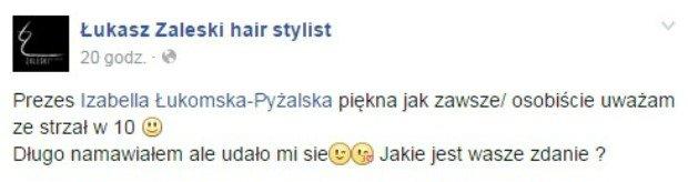 Łukasz Zaleski o nowej fryzurze Łukomskiej