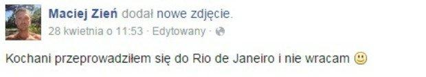 Wpis Macieja Zienia na Facebooku