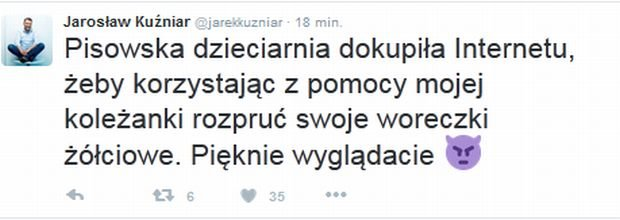 Tweet Jarosława Kuźniara