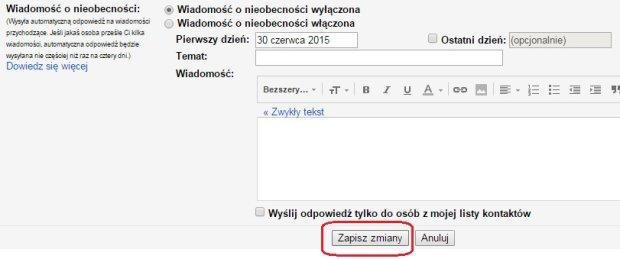 Gmail - zapisanie zmian