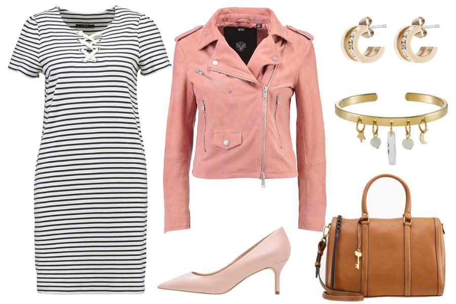 Sukienka w paski i różowa ramoneska / kolaż: mat. partnera