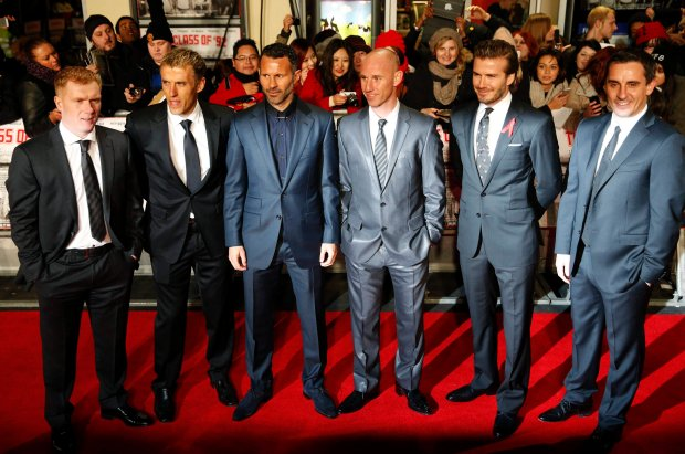 Soccer players (L-R) Paul Scholes, Phil Neville, Ryan Giggs, Nicky Butt, David Beckham and Gary Neville attend the world premier of the film