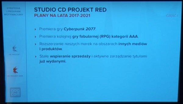Fragment z prezentacji na temat planów CD Projektu na kolejne lata - w tym przypadku lata 2017-2021 [źr. YouTube.com]