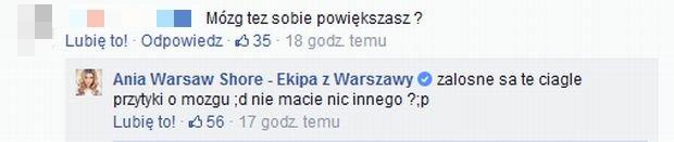 Duża Ania komentuje wpis fana