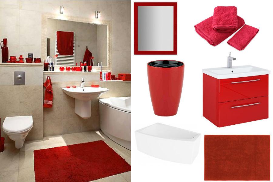 Wyraziste dodatki w romantycznej łazience