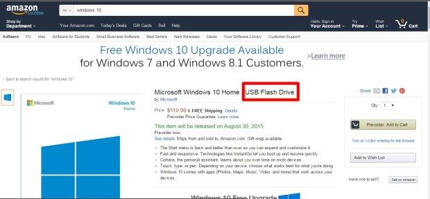 Windows 10 z pendrivem na Amazon.com