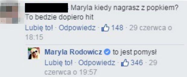 Wpis z Facebooka Maryli Rodowicz