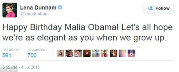 Lena Dunham składa urodzinowe życzenia Malii Obamie