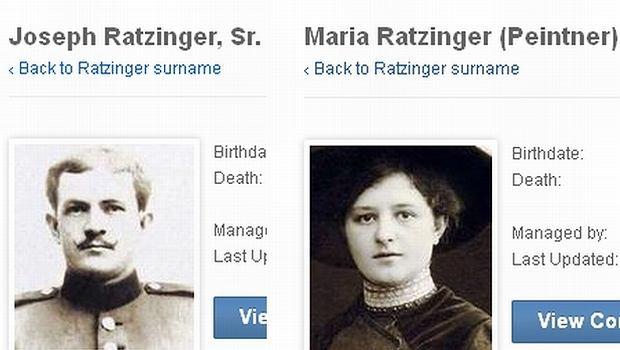 Maria Peitner, Ratzinger i Joseph Ratzinger senior