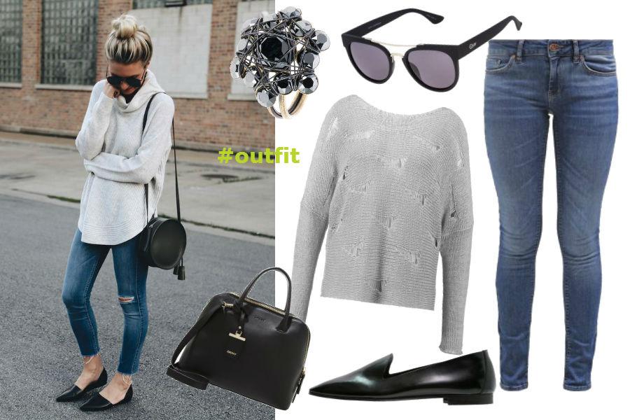 jasne jeansy, szary sweter, okulary przeciwsłoneczne, czarne buty