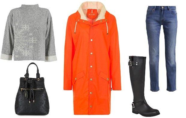 Kolorowe płaszcze przeciwdeszczowe - gotowa stylizacja