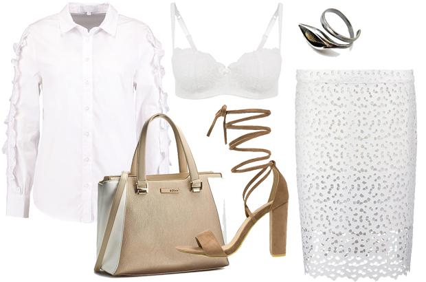Izabella Krzan - stylizacja z białą koszulą i spódnicą