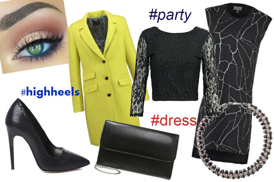 limonkowy płaszcz, sukienka, naszyjnik, kopertówka